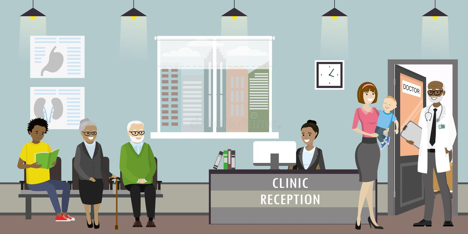 Clinic reception, doctor and old woman patients,african american. Clinic reception interior with furniture, doctor and different patients,african american stock illustration