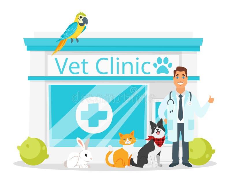 Clinica del veterinario con medico royalty illustrazione gratis