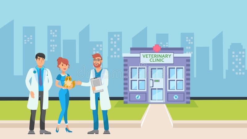 Clinica del veterinario nell'illustrazione piana di vettore di paesaggio urbano illustrazione vettoriale