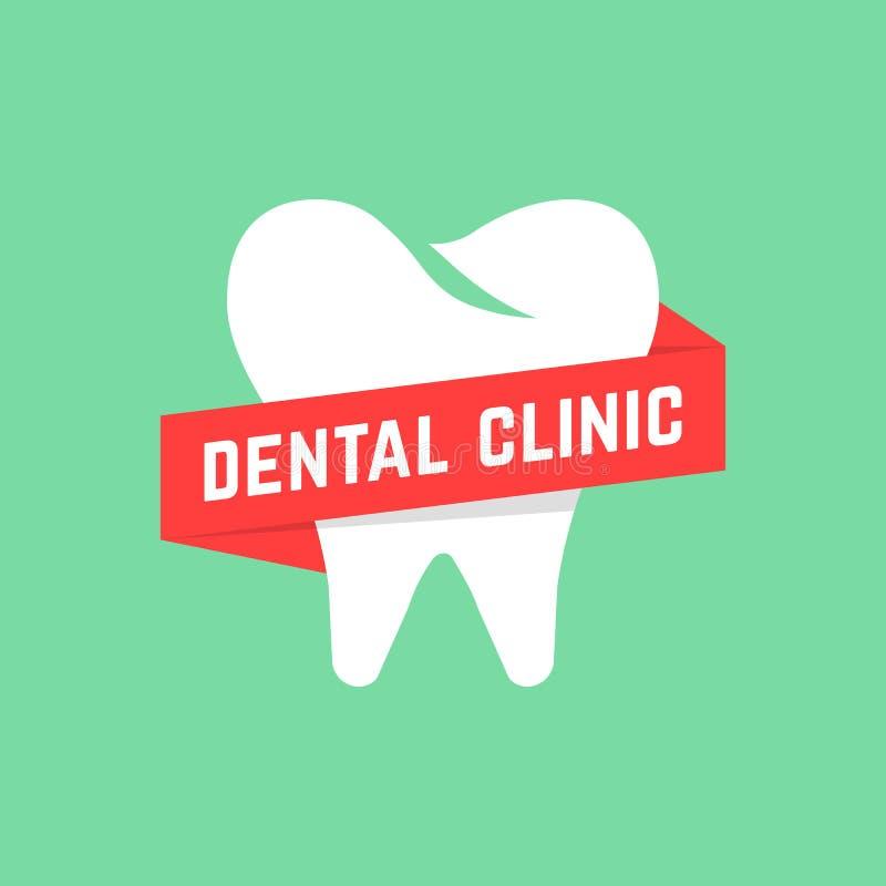 Clinica dentaria con l'insegna rossa illustrazione di stock