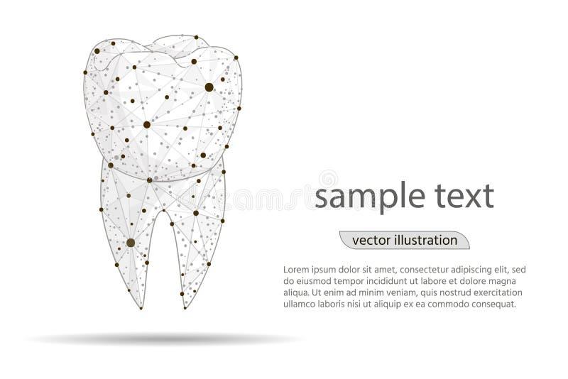 Clinica dentaria dentaria di progettazione astratta, logo isolata da poli wireframe basso su fondo bianco Estratto di vettore royalty illustrazione gratis