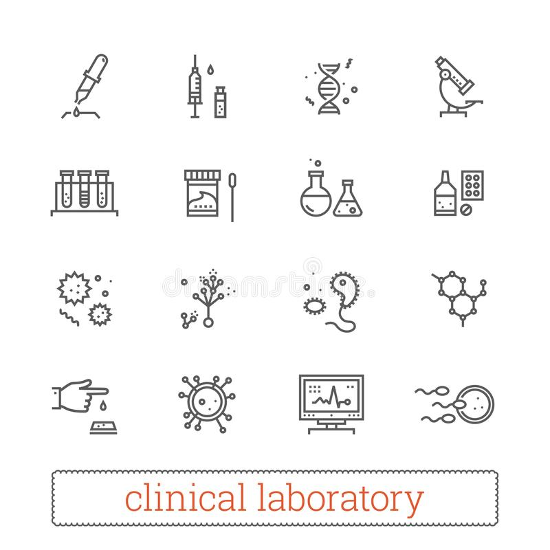 Clinical laboratory thin line icons: medicine science, virology study, microbiology assay, genetics, medical equipment. stock illustration