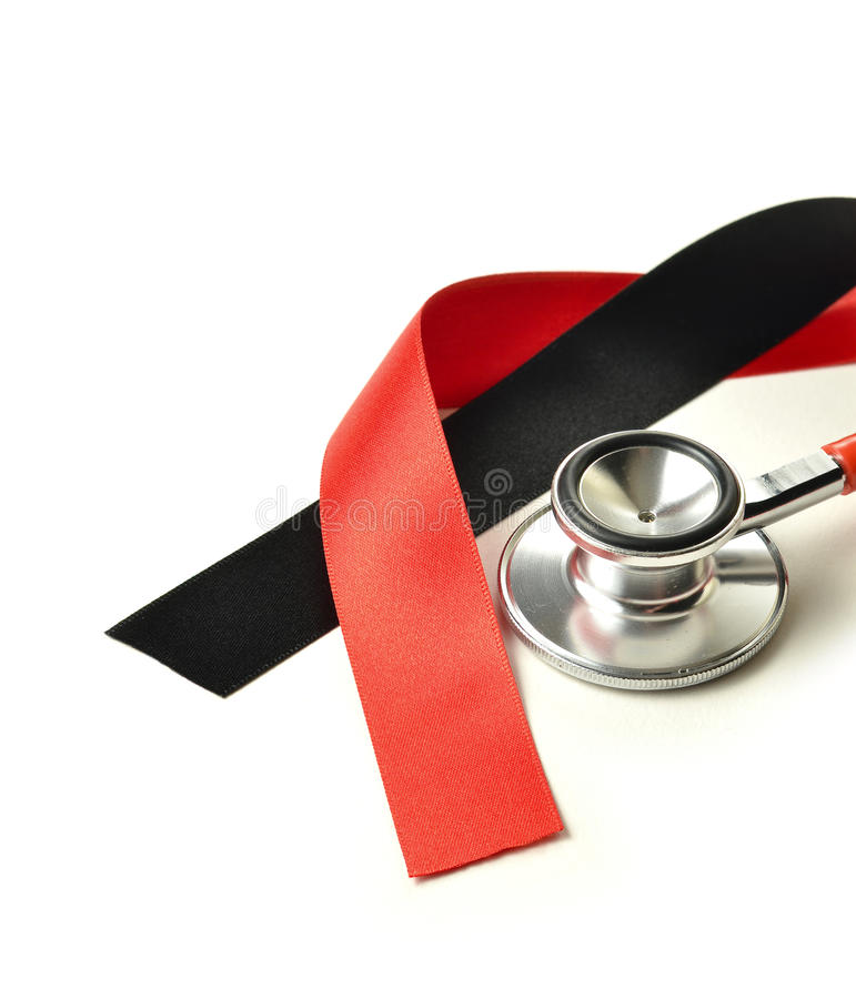 Clinical Negligence. Concept image for clinical negligence. Ribbons represent the legal profession. Stethoscope represents the medical industry. Copy space stock image