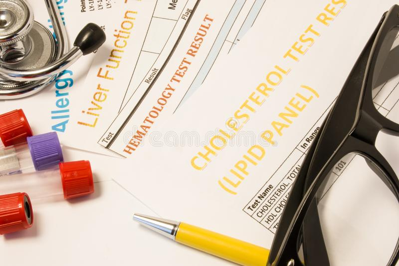 Clinical trial research concept photo. Results of clinical medical laboratory tests: blood, allergy analysis, cholesterol and lipi royalty free stock image