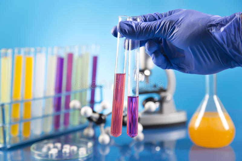 Clinical trials in the laboratory stock photography