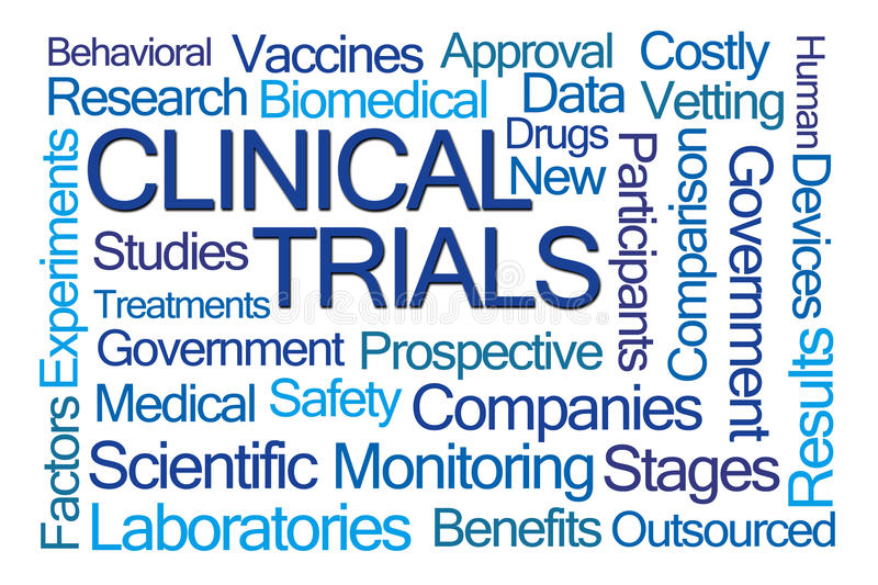 Clinical Trials Word Cloud royalty free illustration
