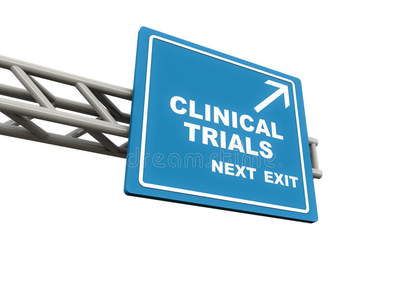 Clinical trials. Words on a highway banner