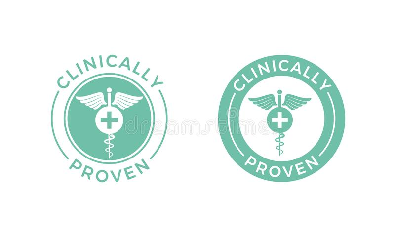 Clinically bevisad medicinsk caduceussymbol för vektor stock illustrationer