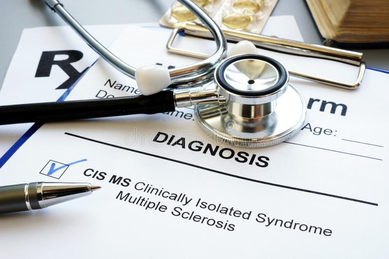 Clinically isolerad diagnos för ms för syndrommultipel sklero cis arkivbild