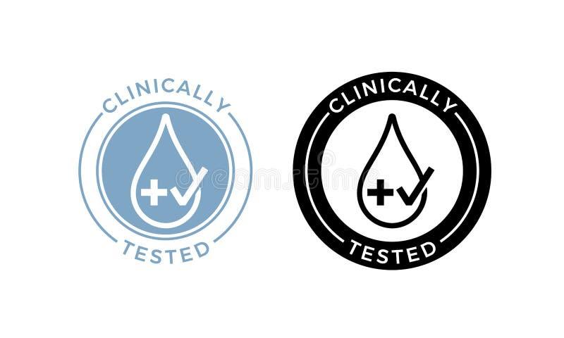 Clinically testad vektordroppkors och kontrollsymbol stock illustrationer