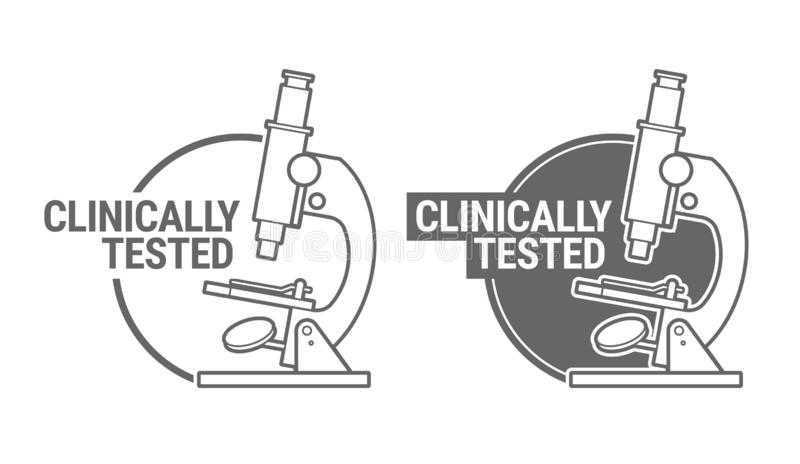 Clinically tested sign or stamp symbol stock illustration