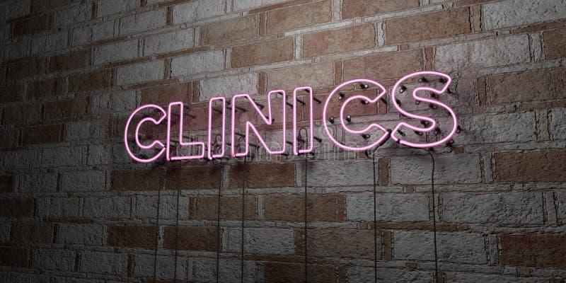CLINICHE - Insegna al neon d'ardore sulla parete del lavoro in pietra - 3D ha reso l'illustrazione di riserva libera della sovran illustrazione di stock