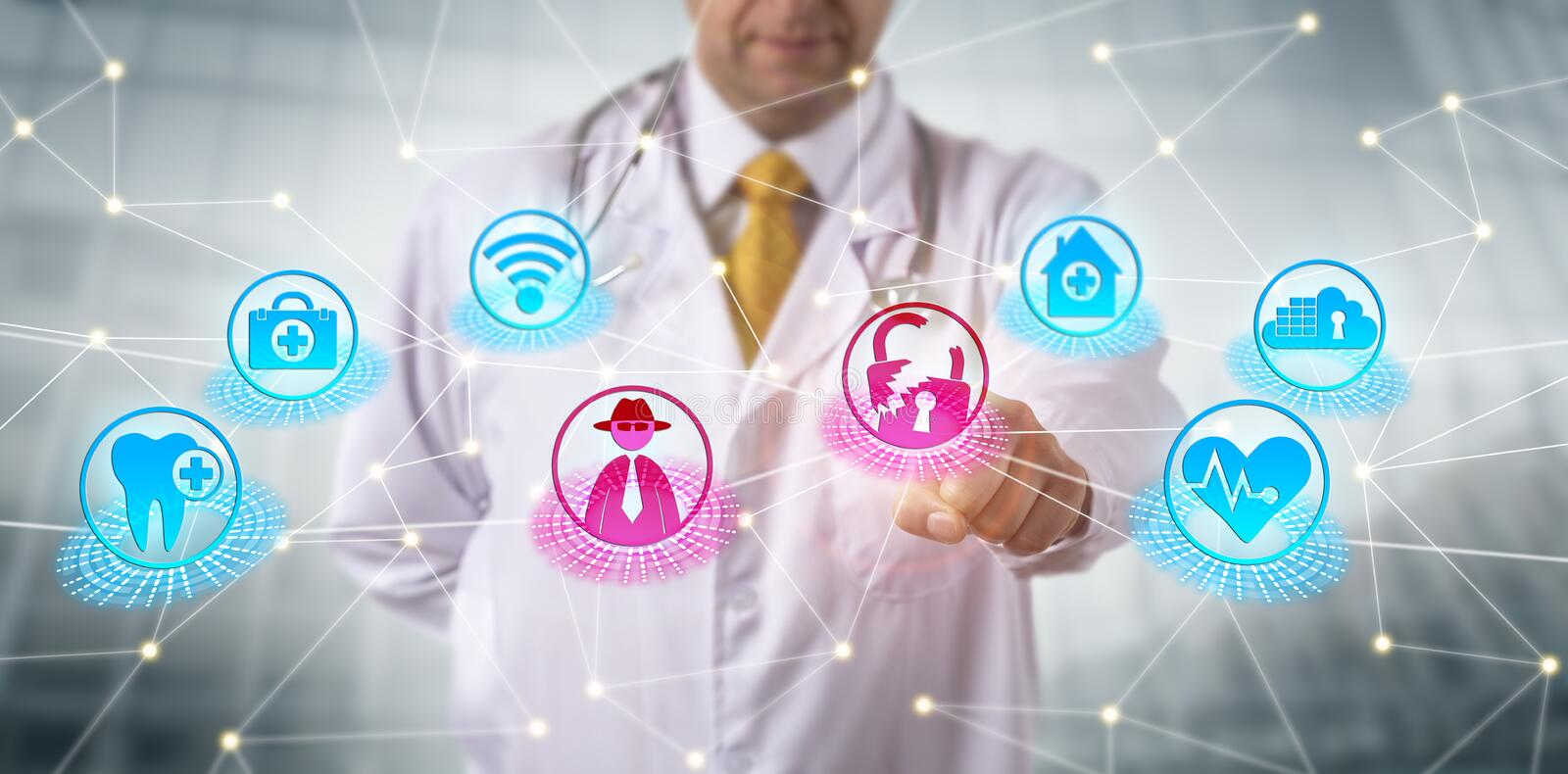Clinician Subjected To Advanced Persistent Threat. Unrecognizable clinician subjected to an advanced persistent threat at an access point to a healthcare data royalty free stock image