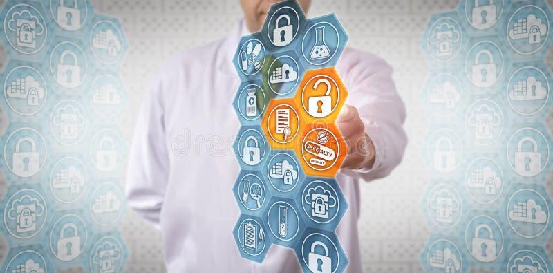 Clinicien accédant à des données sûres sur la drogue de spécialité image stock