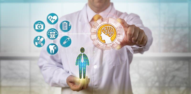 Clinicien employant l'AI pour accéder aux disques médicaux photos stock