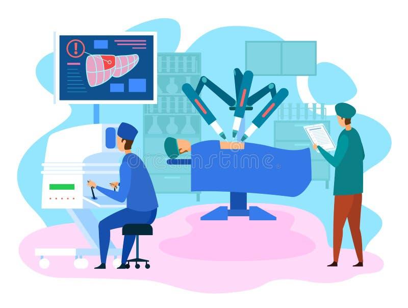 Clinique de chirurgie robotisée opération de foie futuriste illustration stock