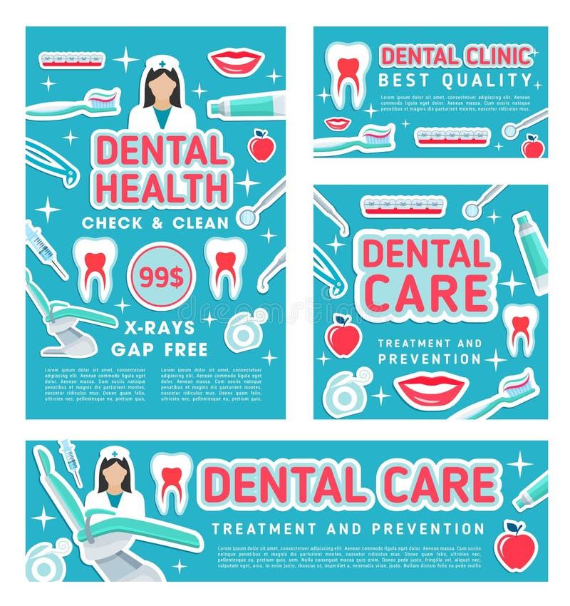 Clinique de soins dentaires et visite médicale d'art dentaire illustration libre de droits