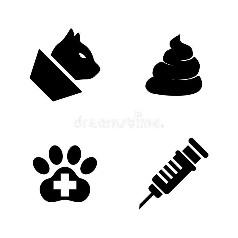 Clinique de vétérinaire d'animaux familiers, médecine vétérinaire Icônes relatives simples de vecteur illustration de vecteur