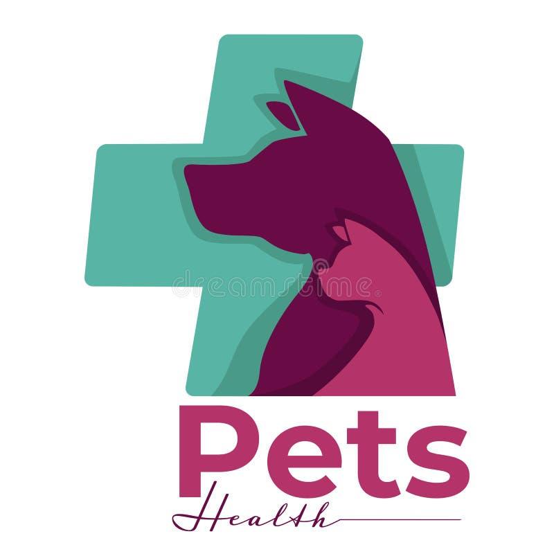 Clinique de vétérinaire d'isolement par santé de chien et de chat d'icône d'animaux familiers illustration libre de droits
