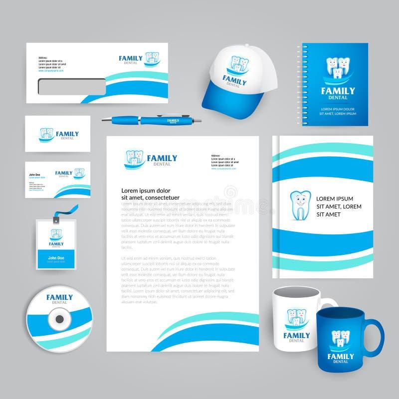 Clinique dentaire de famille, bureau, médecine orale, calibre d'identité d'entreprise de stomatologie avec le logo abstrait color illustration libre de droits