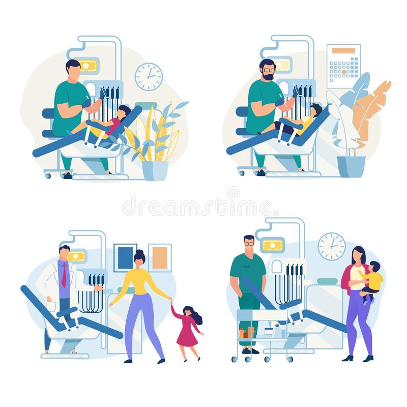 Clinique dentaire pédiatrique d'affiche informationnelle illustration libre de droits