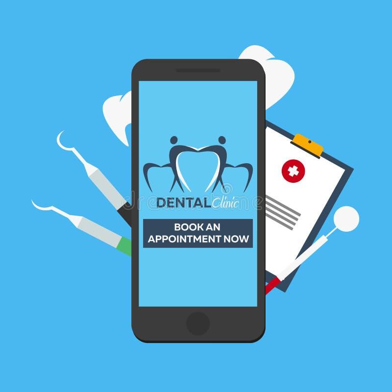 Clinique dentaire Réservez un rendez-vous Entrée en ligne Logo dentaire illustration libre de droits