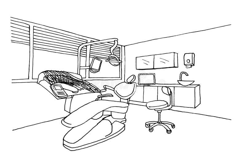 Clinique graphique de bureau de dentiste de croquis images stock
