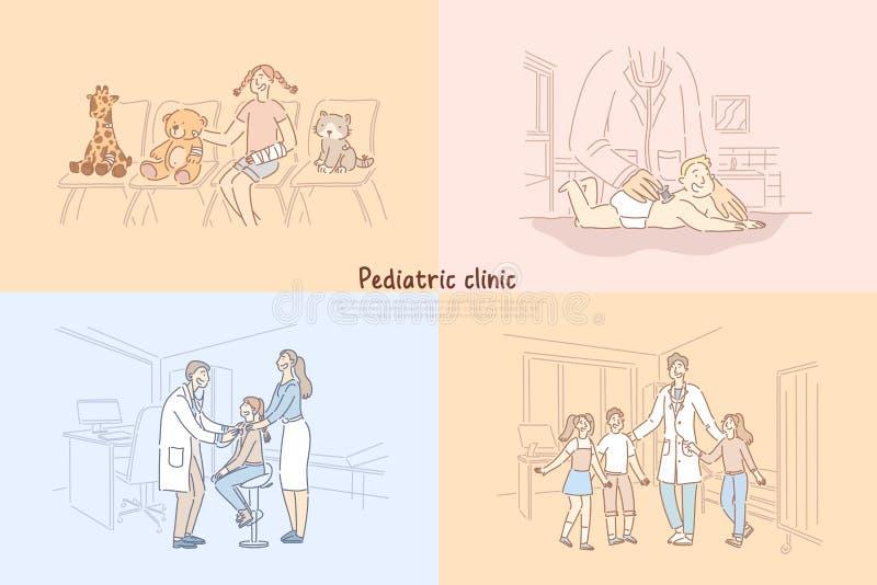 Clinique pédiatrique, bébé dans le bureau de pédiatre, fille dans la salle d'attente d'hôpital, enfants visitant le calibre de ba illustration libre de droits