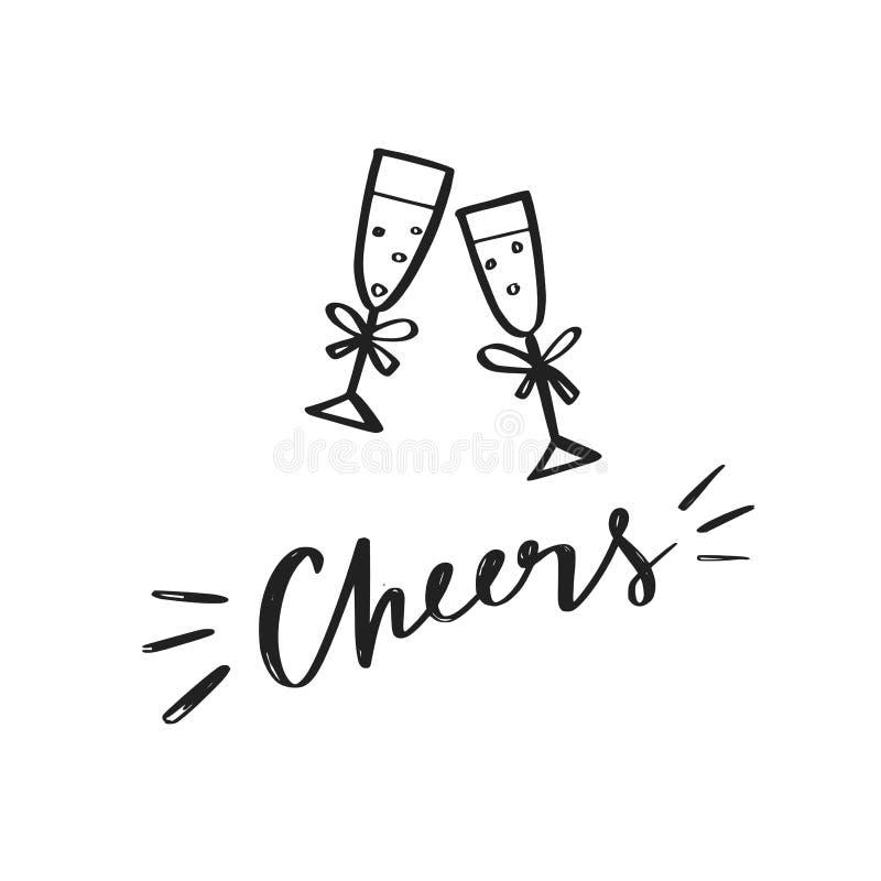 Clinking символ вектора стекел шампанского, значки Торжество, праздники, иллюстрация тоста схематическая иллюстрация вектора