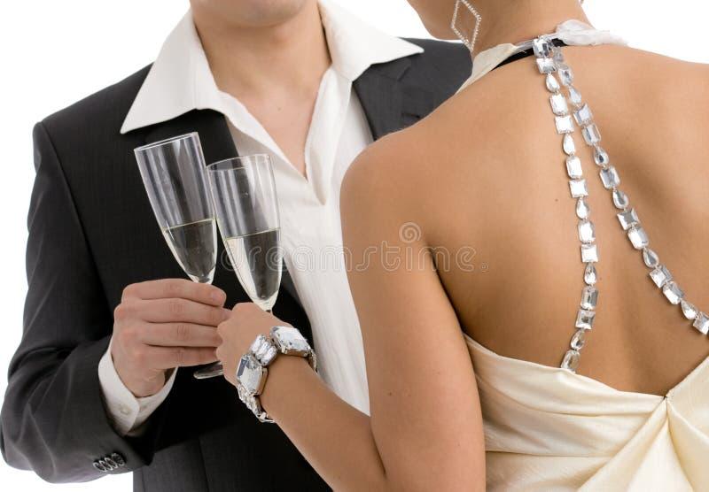 Clinking com champanhe imagens de stock royalty free