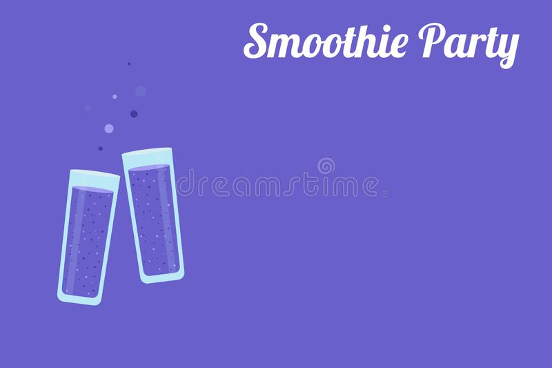 Clinking glasses full of purple juice of berries  on a purple background with a place for text. Smoothie party is written on the banner. Vector illustration vector illustration