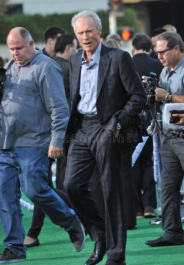 Clint Eastwood. LOS ANGELES, CA - September 19, 2012: Clint Eastwood at the premiere of his movie \'Trouble With The Curve\' at the Mann Village Theatre royalty free stock photo