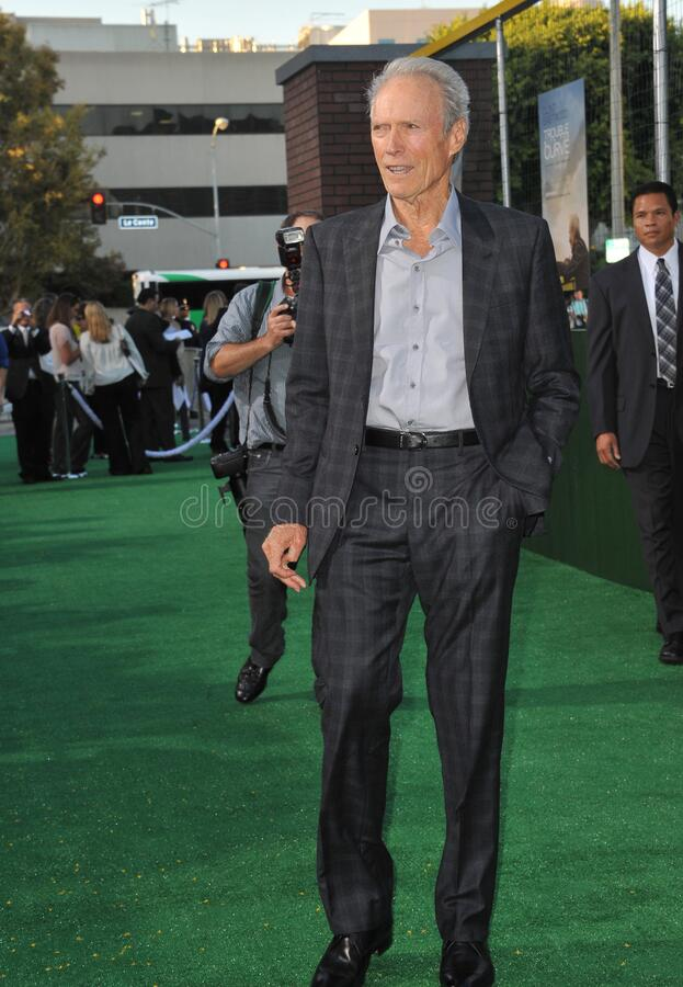 Clint Eastwood. LOS ANGELES, CA - September 19, 2012: Clint Eastwood at the premiere of his movie \'Trouble With The Curve\' at the Mann Village Theatre royalty free stock photos
