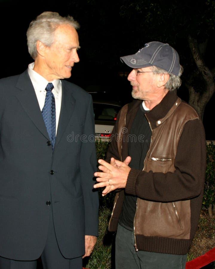 Clint Eastwood, Steven Spielberg royaltyfri fotografi