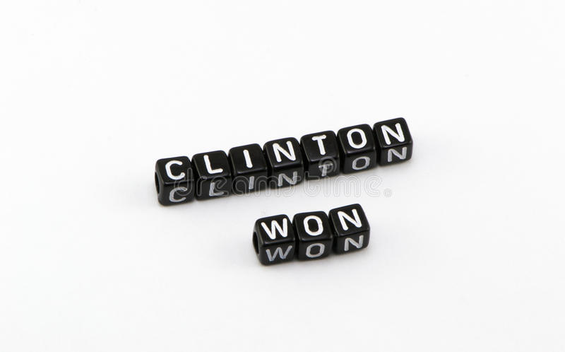 Clinton ganhou a eleição fotos de stock