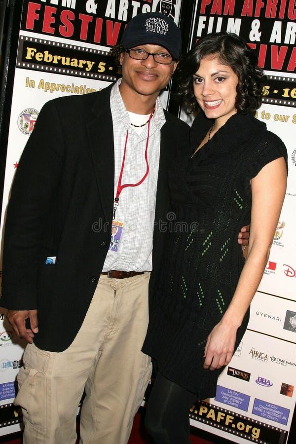 Clinton H. Wallace en Ursula Taherian bij de Pan Afrikaanse Première van het Festival van de Film van ?Layla?. Het Theater van het royalty-vrije stock foto