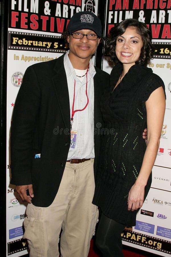 Clinton H. Wallace en Ursula Taherian bij de Pan Afrikaanse Première van het Festival van de Film van ?Layla?. Het Theater van het stock foto