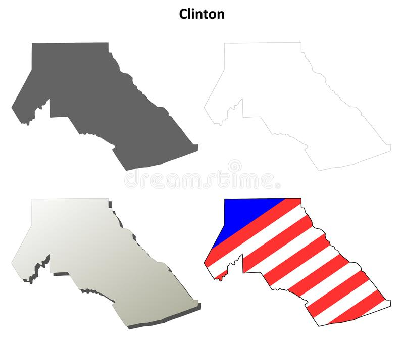 Clinton okręgu administracyjnego, Pennsylwania kontur mapy set royalty ilustracja