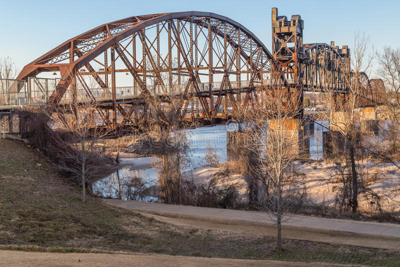 Clinton Presidential Park Bridge in Little Rock, Arkansas stock images