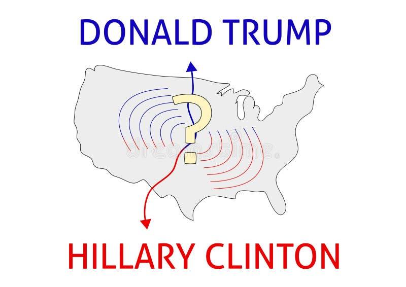 Clinton zwycięzca Donald atut vs Hillary Clinton USA wybory 20 ilustracja wektor