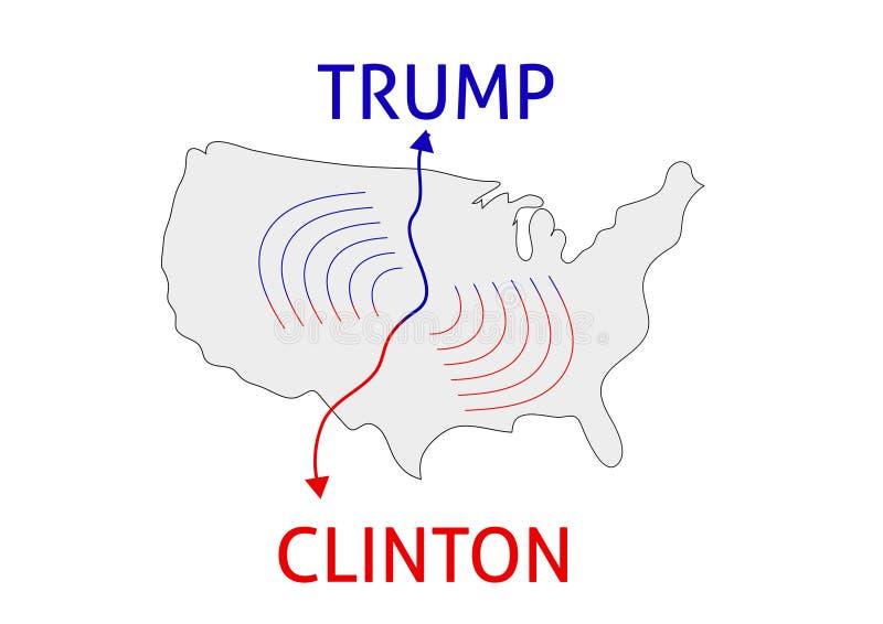 Clinton zwycięzca Donald atut vs Hillary Clinton USA wybory 20 royalty ilustracja