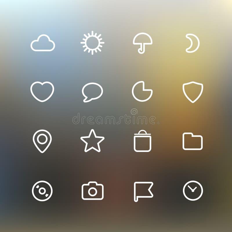 Clip art blanco de los iconos del interfaz del web en fondo del color libre illustration