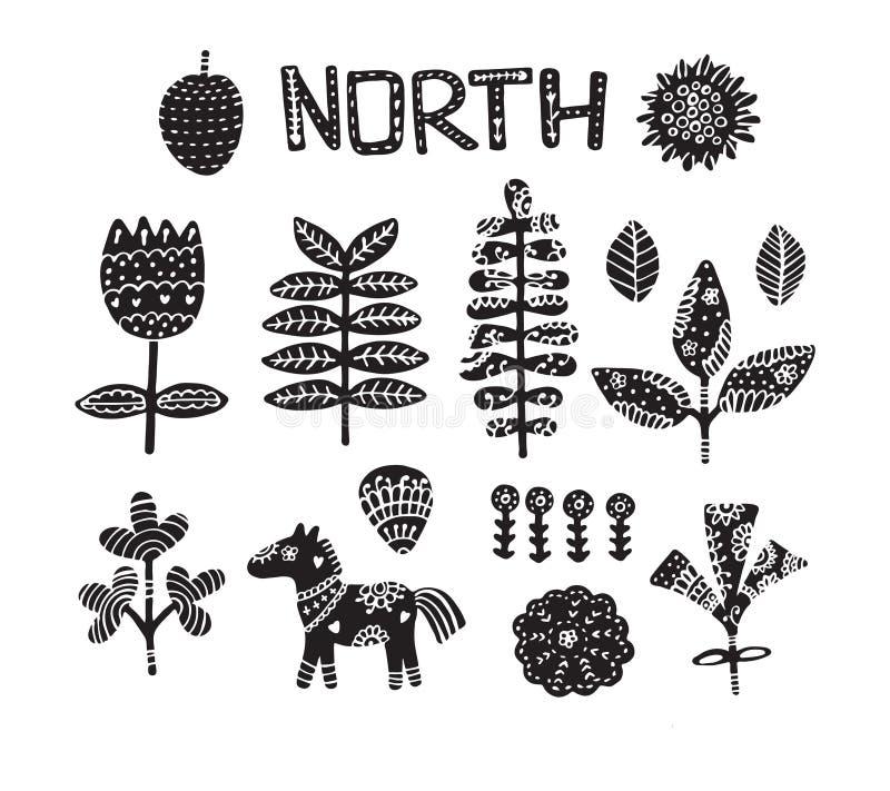 Clip art con el caballo, las flores y los elementos a mano Textura del ` s de los niños Grande para la tela, ejemplo del vector d ilustración del vector
