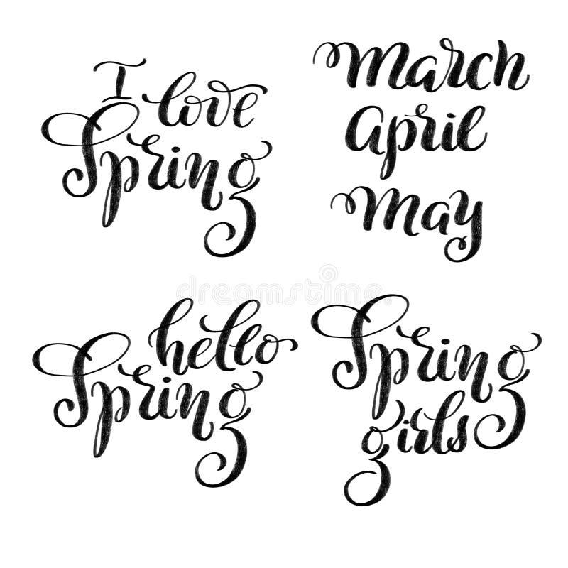 Clip art de la primavera - letras exhaustas texturizadas de la mano amo la primavera, hola las muchachas y marzo, abril, mayo de  stock de ilustración