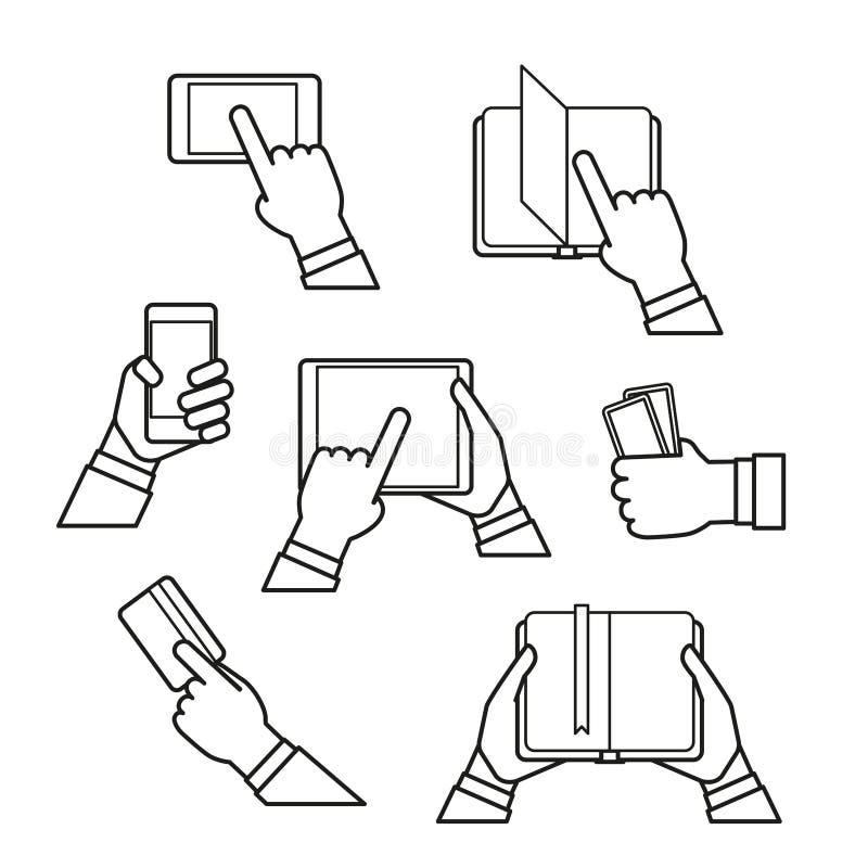 Clip art de los iconos del concepto del fransfer de la información stock de ilustración