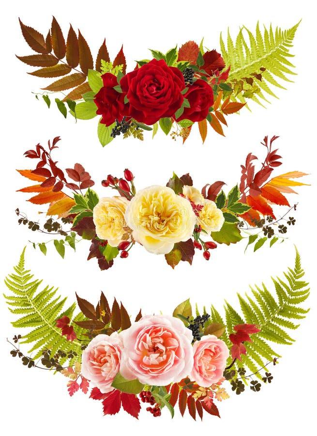 Clip art del ramo de la flor de Rose con las solas hojas fotografía de archivo