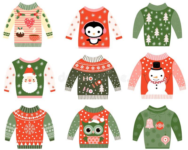 Clip art feo lindo del suéter de la Navidad stock de ilustración
