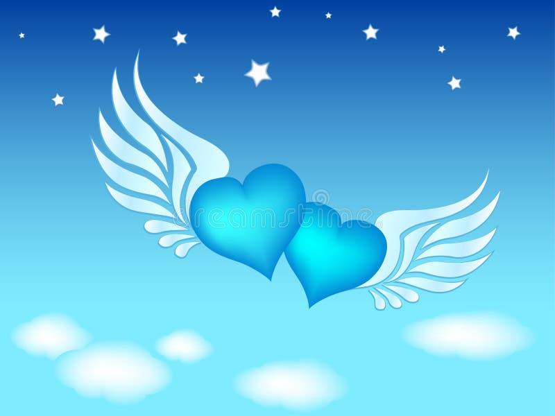 Clip-art of flying hearts vector illustration
