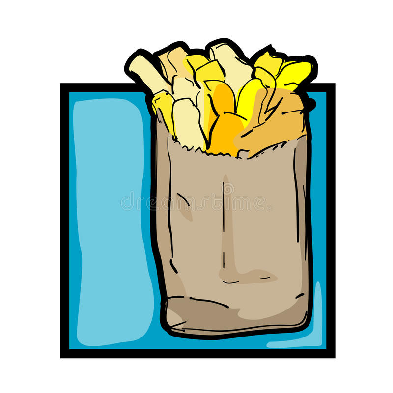 Clip art french fries. Classic clip art graphic icon with french fries royalty free illustration