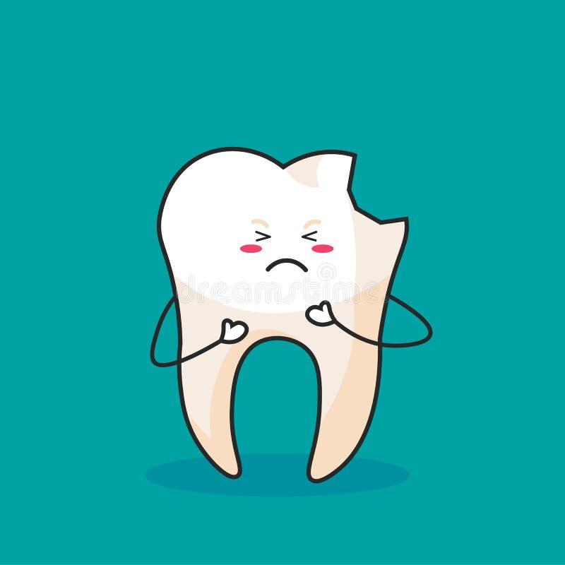 Clip art lindo de la historieta - icono del diente con la cara quebrada y gritadora en el fondo azul, diente consiga enfermo - ve libre illustration